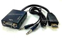 HDMI TO VGA with AUDIO CONVERTER - BLACK - lobang audio di samping