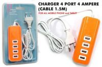 USB FAST CHARGER 4 PORT model colorful tanpa saklar on/off