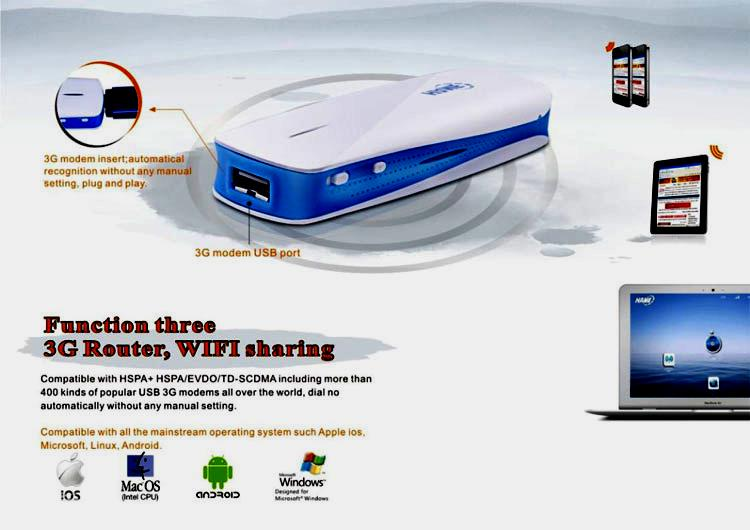 Income pedia 3g mobile power router hame mpr-a1 (3 in 1 : power bank, 3g hotspot, mini ap)