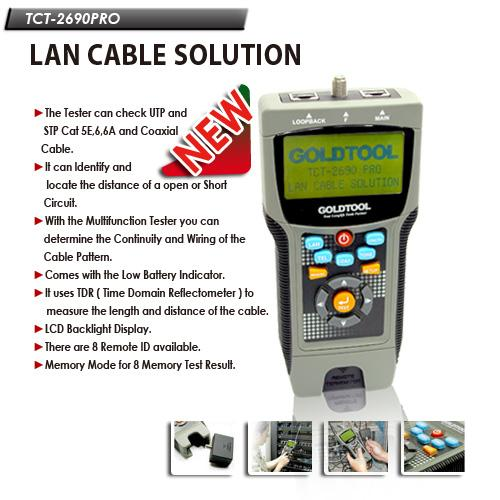 picture regarding Cat6 Cable Tester With Printable Results identify LAN TESTER Electronic GOLDTOOL TCT-2690 Professional - Toko Sigma