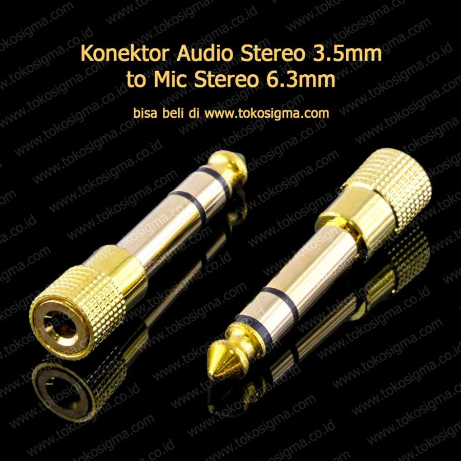 Jek Mic 63mm Stereo To Aux 35mm Female Gold Toko Sigma Audio Splitter Converter 35 Mm Jack Headset Microphone Handphone